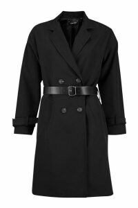 Womens Faux Leather Belted Trench Coat - black - 12, Black