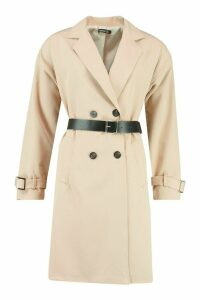 Womens Faux Leather Belted Trench Coat - beige - 14, Beige