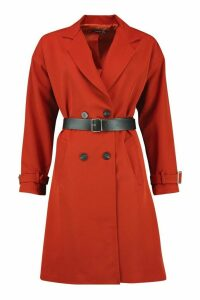 Womens Faux Leather Belted Trench Coat - orange - 14, Orange