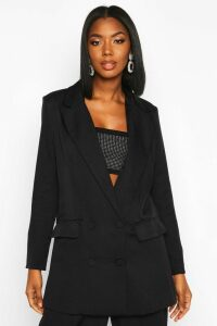 Womens Premium Double Breasted Blazer - black - 14, Black