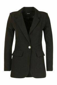 Womens Single Breasted Tailored Blazer - black - 14, Black