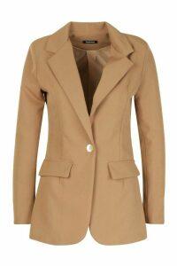 Womens Single Breasted Tailored Blazer - beige - 14, Beige