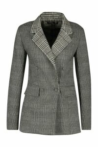 Womens Contrast Check Double Breasted Blazer - grey - 14, Grey