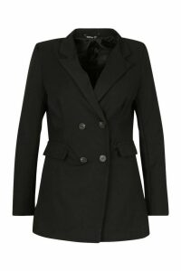 Womens Plus Woven Double Breasted Tailored Blazer - black - 20, Black