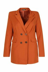 Womens Plus Woven Double Breasted Tailored Blazer - orange - 20, Orange