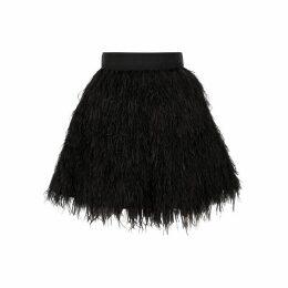 Alice + Olivia Cina Black Feather Mini Skirt