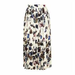 Victoria, Victoria Beckham Crystal-print Satin-twill Midi Skirt
