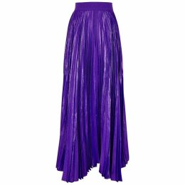 Alice + Olivia Katz Purple Silk-blend Maxi Skirt