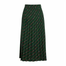 Gucci Green Printed Wool Midi Skirt
