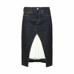 Evisu Reworked Denim Skirt With Pleated Layer