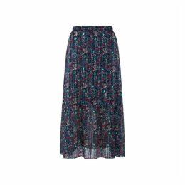 Gerard Darel Long Printed-muslin And Lurex Terry Skirt