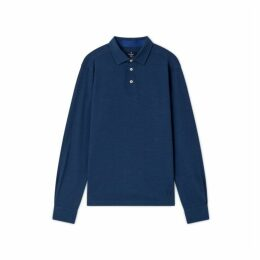 Hackett Cotton And Wool Blend Long-sleeved Polo Shirt