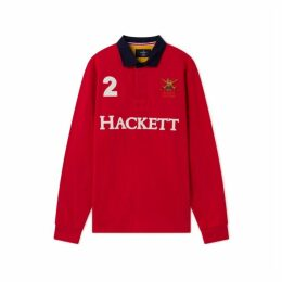 Hackett Army Polo Detail Cotton Long-sleeved Rugby Shirt