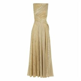 Talbot Runhof Solymar Gold Metallic Voile Gown