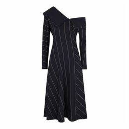3.1 Phillip Lim Navy Off-the-shoulder Striped Dress