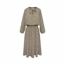 Gerard Darel Printed Daisy Dress With Smocking At Waist