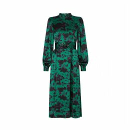 Kitri Suzanne Green Cow Print Midi Dress