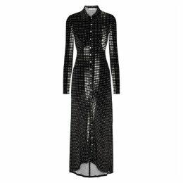Paco Rabanne Black Polka-dot Velvet Maxi Dress
