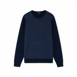 Hackett Contrast Front Panel Wool Crew Neck Sweater