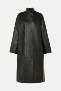 The Row - Emely Leather Coat - Dark brown
