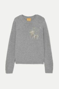 Le Lion - Virgo Embellished Embroidered Wool Sweater - Gray