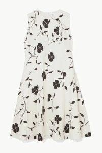 Oscar de la Renta - Pleated Floral-print Grain De Poudre Wool-blend Mini Dress - Ivory