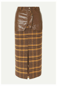 REJINA PYO - Maggie Checked Wool And Faux Leather Midi Skirt - Brown