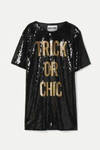 Moschino - Sequined Jersey Mini Dress - Black