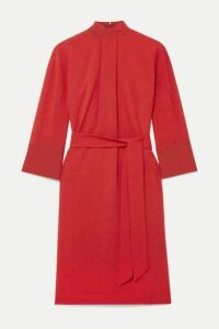 Cefinn - Ada Belted Voile Dress - Crimson