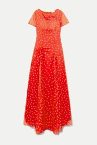 Eywasouls Malibu - Stacey Polka-dot Chiffon Maxi Dress - Red
