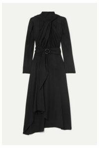 Lado Bokuchava - Belted Knotted Twill Midi Dress - Black