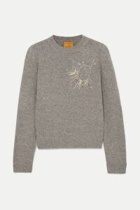 Le Lion - Libra Embellished Embroidered Wool Sweater - Gray