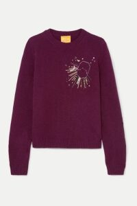 Le Lion - Aries Embellished Embroidered Wool Sweater - Burgundy