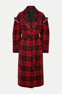 Mother of Pearl - + Net Sustain Webb Belted Faux Pearl-embellished Checked Wool Coat - Red