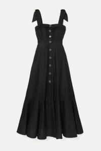 Anna Mason - Olivia Tie-detailed Metallic Crepe Maxi Dress - Black