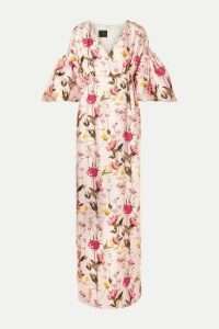Mother of Pearl - Scarlett Faux Pearl-embellished Floral-print Silk-twill Maxi Dress - Pastel pink