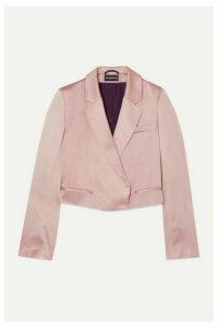 Ann Demeulemeester - Cropped Tie-detailed Satin Blazer - Pink