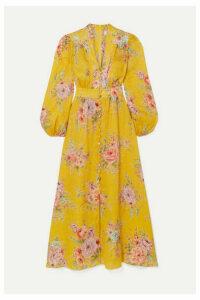 Zimmermann - Zinnia Floral-print Linen Midi Dress - Marigold