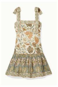 Zimmermann - Edie Ruffled Printed Linen Mini Dress - Off-white