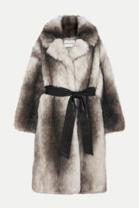Stand Studio - + Pernille Teisbaek Clara Oversized Belted Faux Fur Coat - Gray