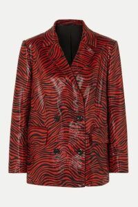 Stand Studio - + Pernille Teisbaek Cassidy Double-breasted Zebra-print Faux Leather Blazer - Red
