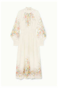 Zimmermann - Zinnia Ruffled Shirred Floral-print Ramie-gauze Maxi Dress - Ivory