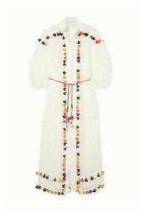 Zimmermann - Edie Belted Tasseled Linen Midi Dress - Off-white