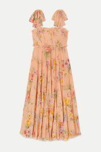 Zimmermann - Zinnia Shirred Floral-print Cotton And Silk-blend Crepon Midi Dress - Pastel orange