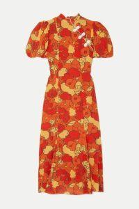 De La Vali - Bluebell Appliquéd Floral-print Silk-georgette Midi Dress - Orange