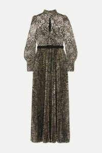 Rebecca Vallance - Vienna Tie-detailed Belted Leopard-jacquard Maxi Dress - Gold