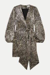 Rebecca Vallance - Vienna Wrap-effect Metallic Leopard-jacquard Mini Dress - Gold