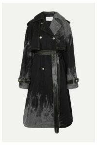 Matthew Adams Dolan - Belted Tie-dyed Denim Trench Coat - Black
