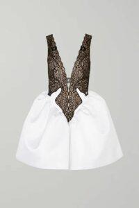Christopher Kane - Lace And Duchesse Silk-satin Mini Dress - White