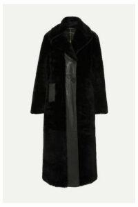 Ellery - Cortillard Leather-trimmed Shearling Coat - Black